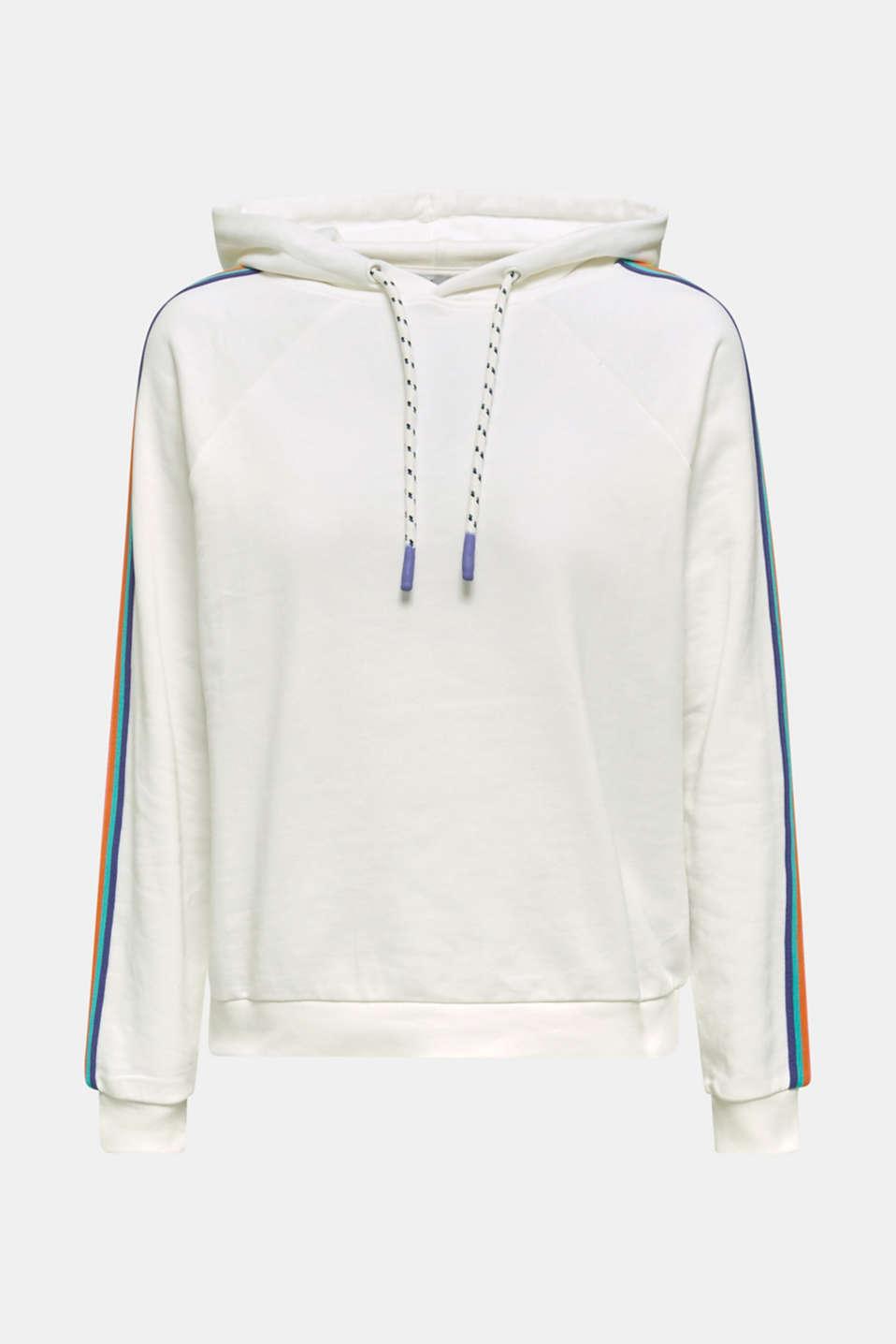 Sweatshirt hoodie with appliquéd stripes, OFF WHITE, detail image number 5