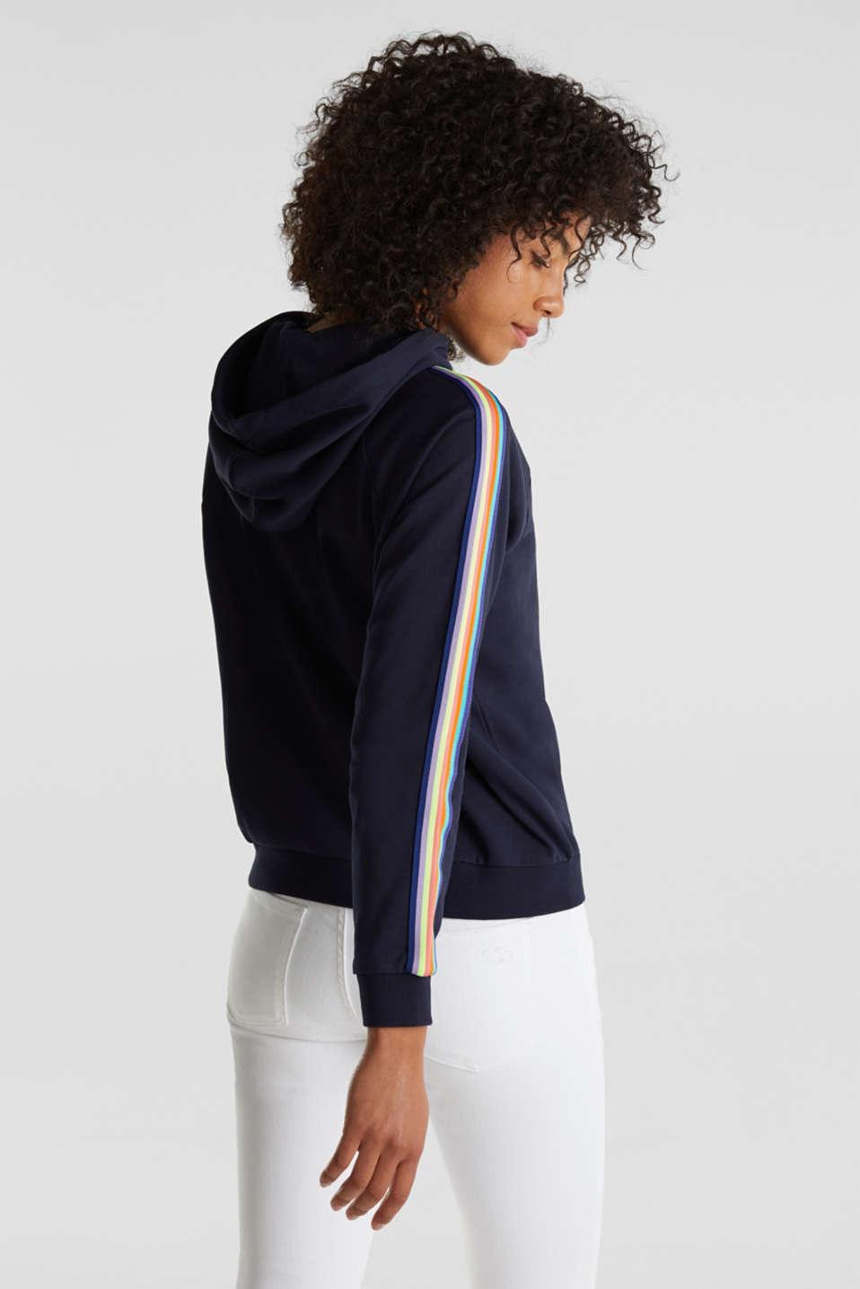 Sweatshirt hoodie with appliquéd stripes, NAVY, detail image number 3