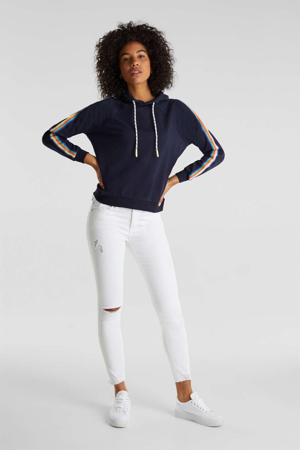 Sweatshirt hoodie with appliquéd stripes, NAVY, detail image number 1