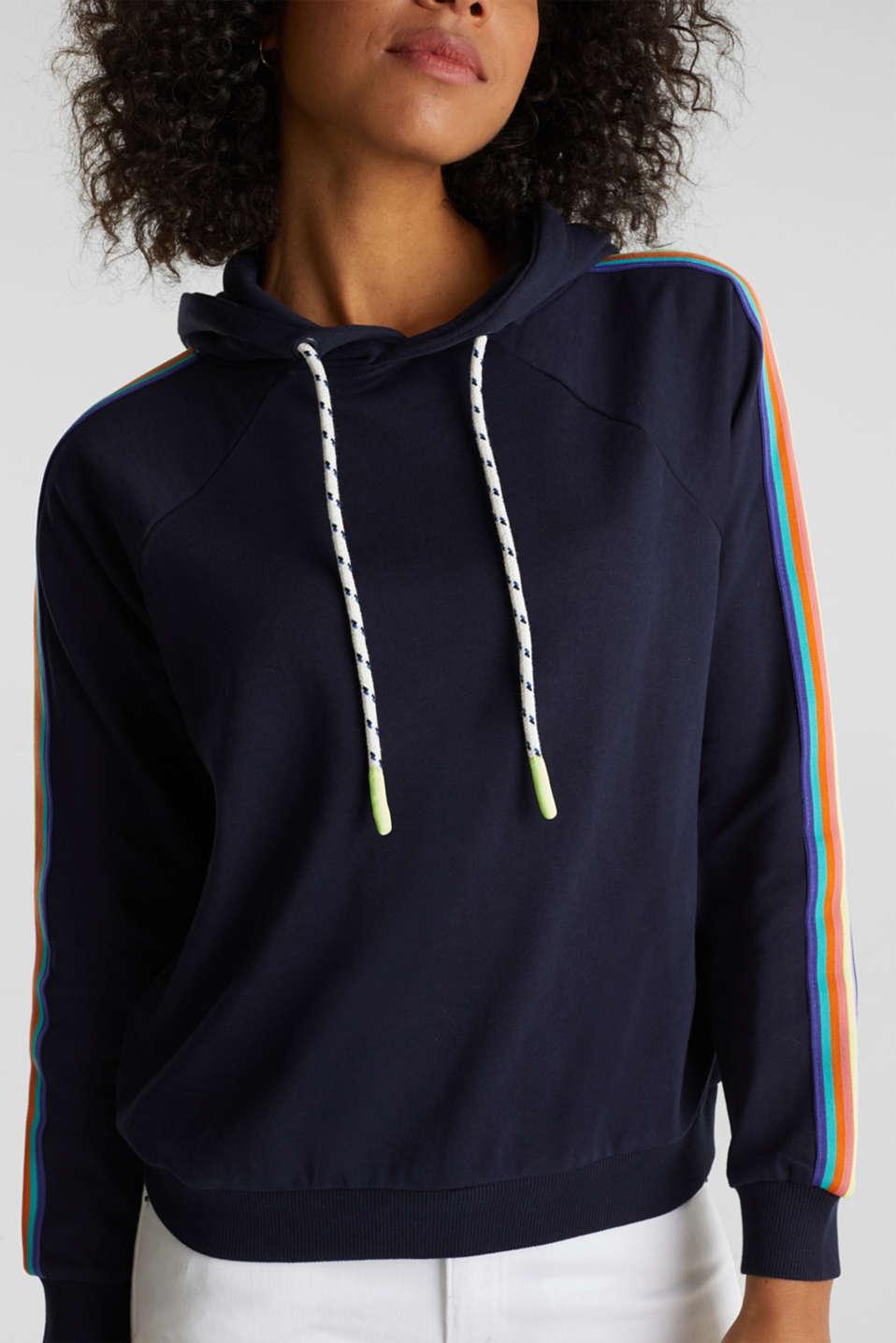 Sweatshirt hoodie with appliquéd stripes, NAVY, detail image number 2