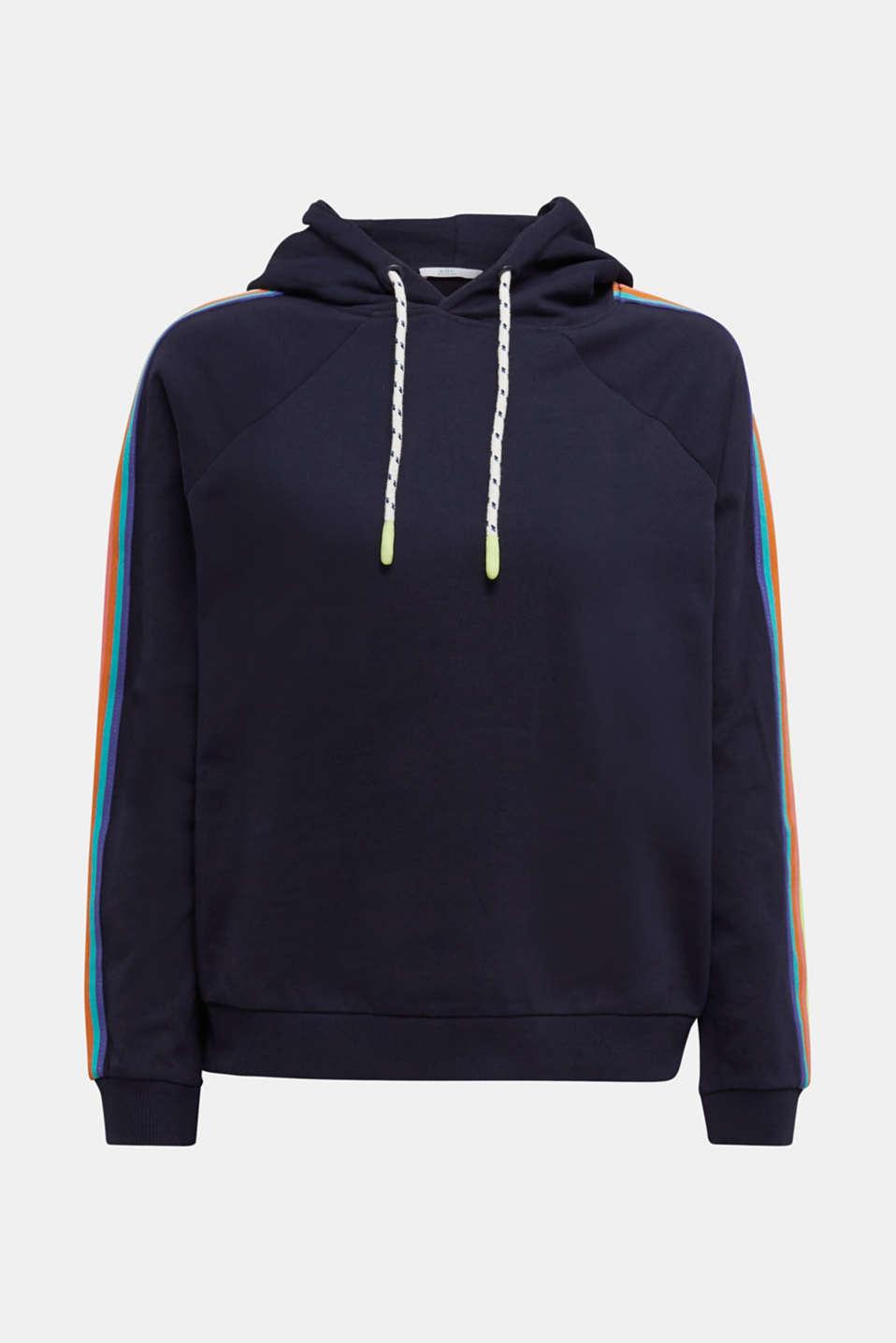 Sweatshirt hoodie with appliquéd stripes, NAVY, detail image number 5