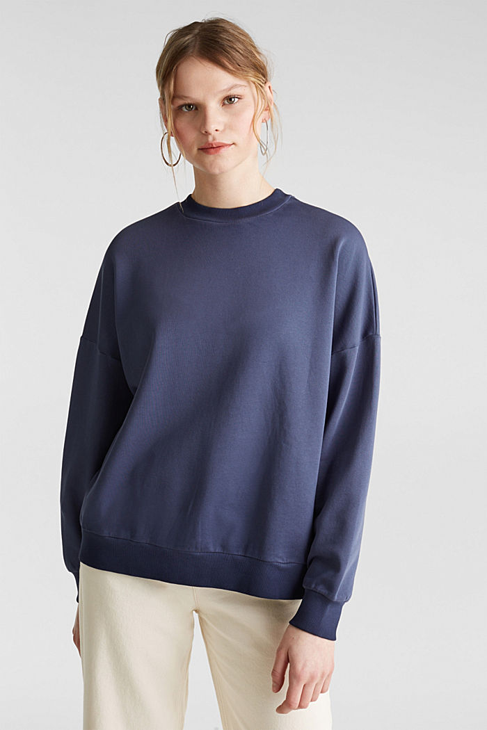 Sweatshirt with batwing sleeves, 100% cotton, NAVY, detail image number 0