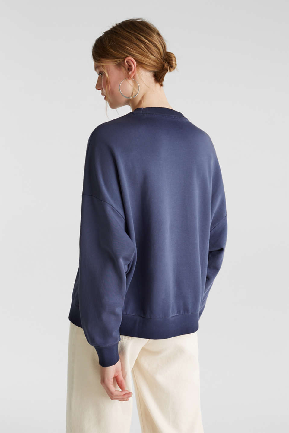 Sweatshirt with batwing sleeves, 100% cotton, NAVY, detail image number 3