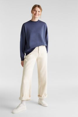 Sweatshirt with batwing sleeves, 100% cotton, NAVY, detail