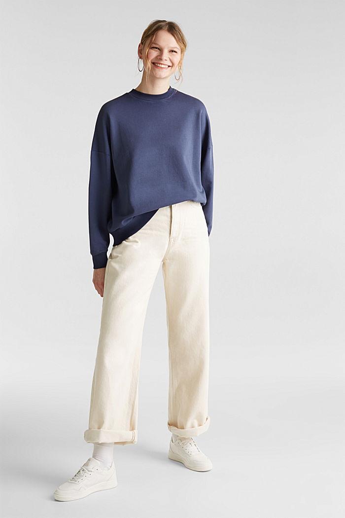 Sweatshirt mit Fledermaus-Ärmeln, 100% Baumwolle, NAVY, detail image number 1