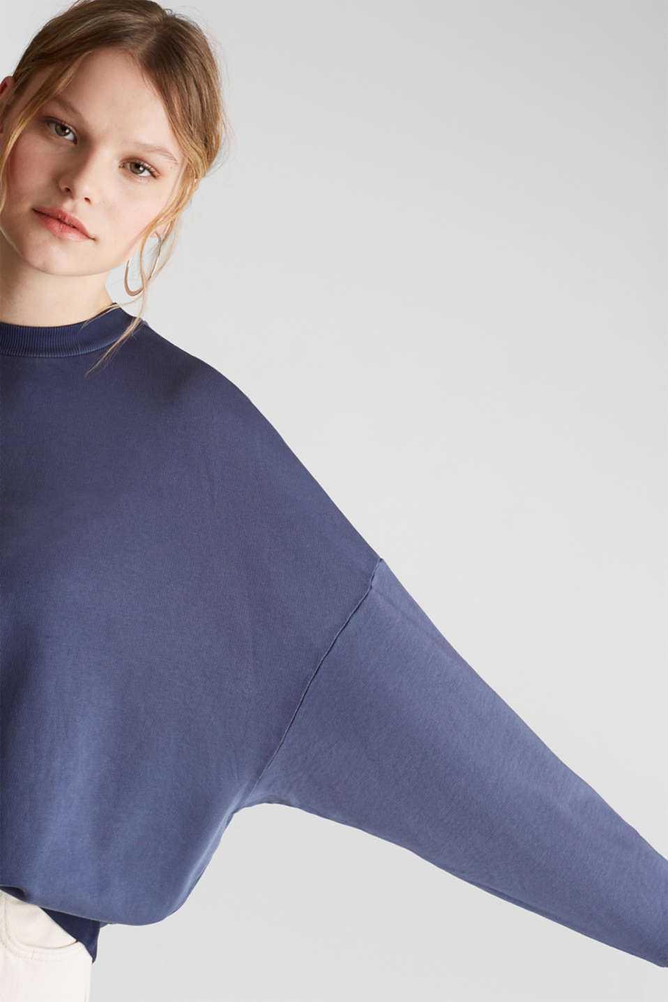 Sweatshirt with batwing sleeves, 100% cotton, NAVY, detail image number 2