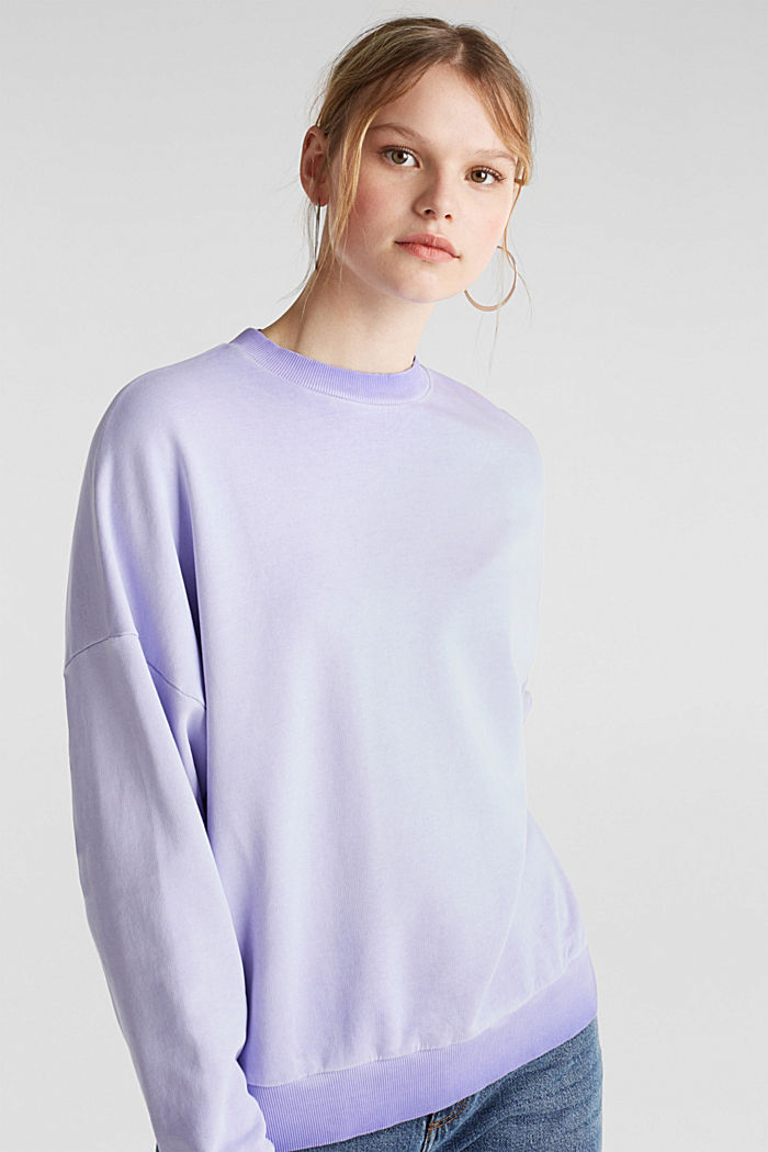 Sweatshirt with batwing sleeves, 100% cotton, DARK LAVENDER, detail image number 0