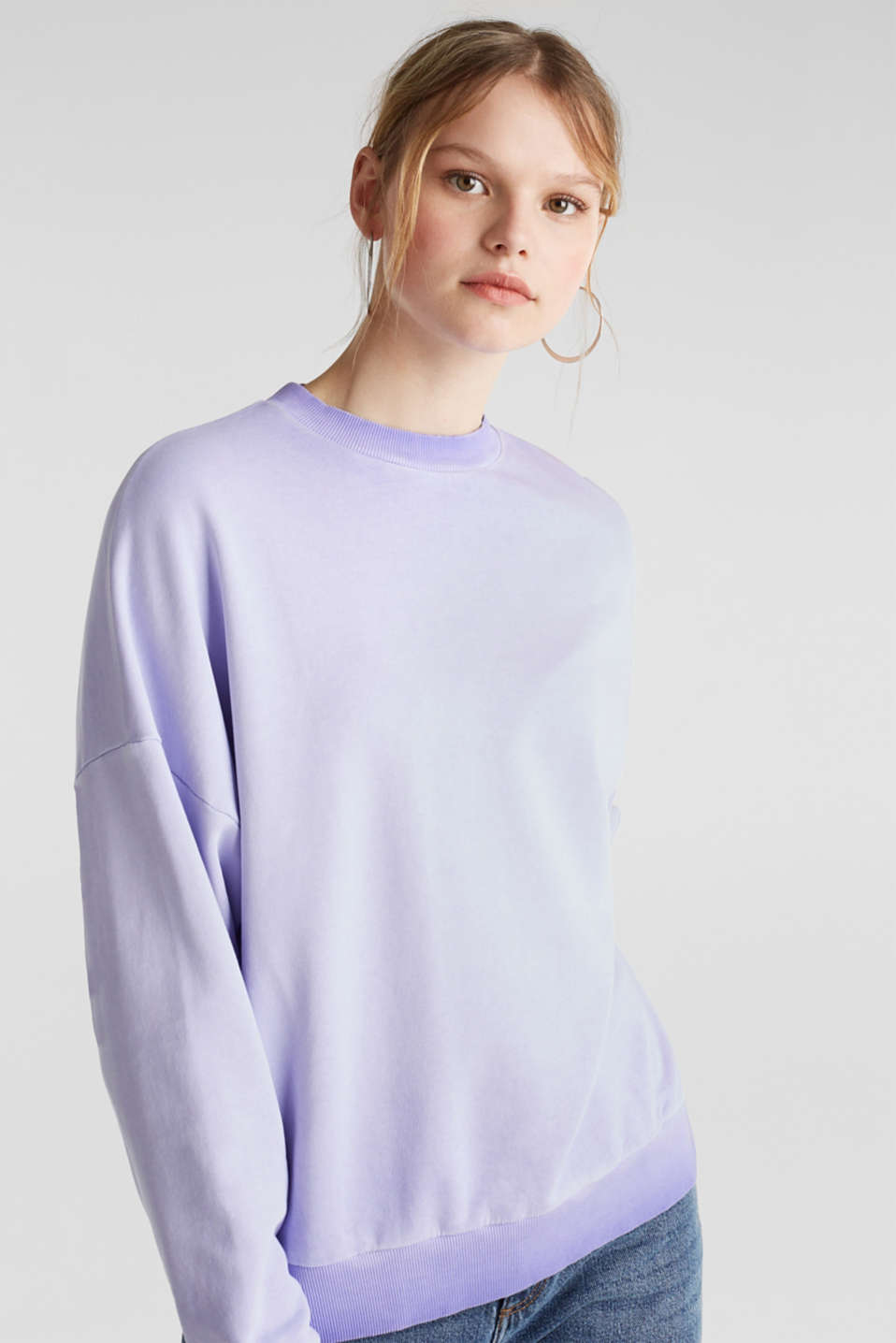 edc - Sweatshirt with batwing sleeves, 100% cotton