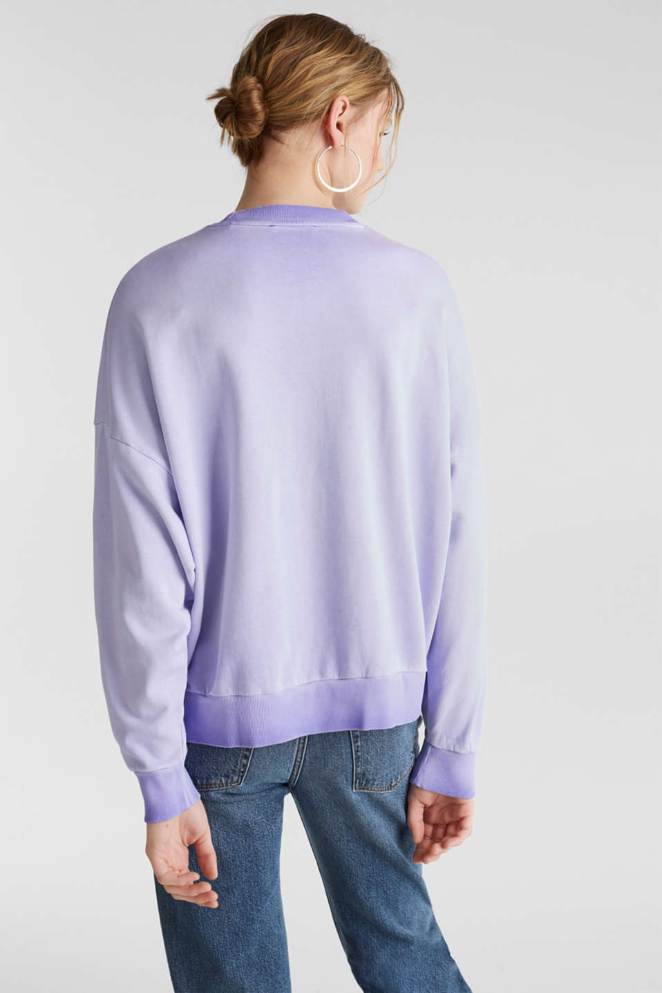 Sweatshirt with batwing sleeves, 100% cotton, DARK LAVENDER, detail image number 3