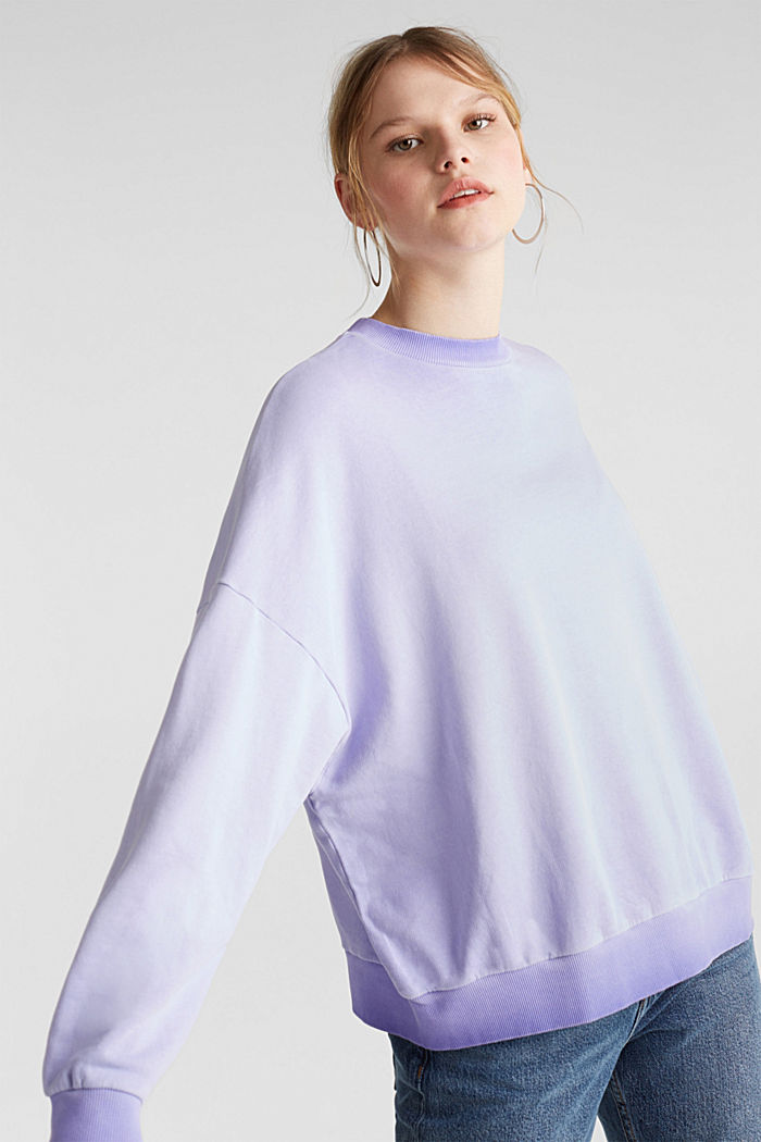 Sweatshirt with batwing sleeves, 100% cotton, DARK LAVENDER, detail image number 6