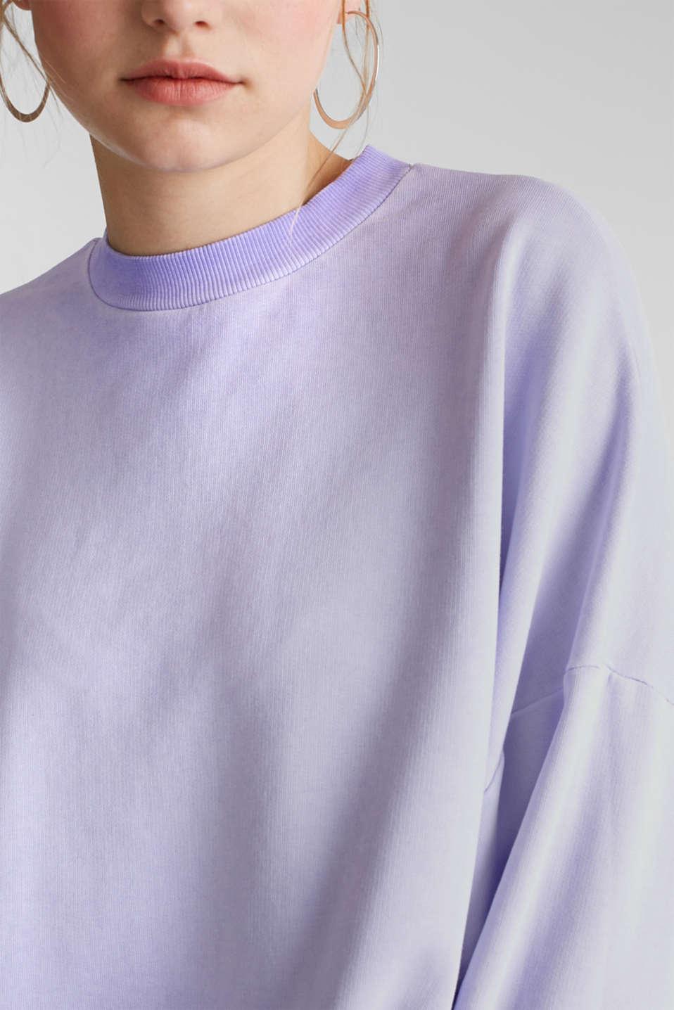 Sweatshirt with batwing sleeves, 100% cotton, DARK LAVENDER, detail image number 2