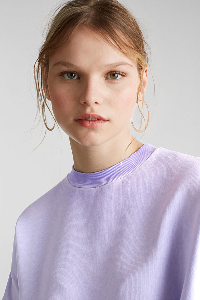 Sweatshirt with batwing sleeves, 100% cotton, DARK LAVENDER, detail image number 7