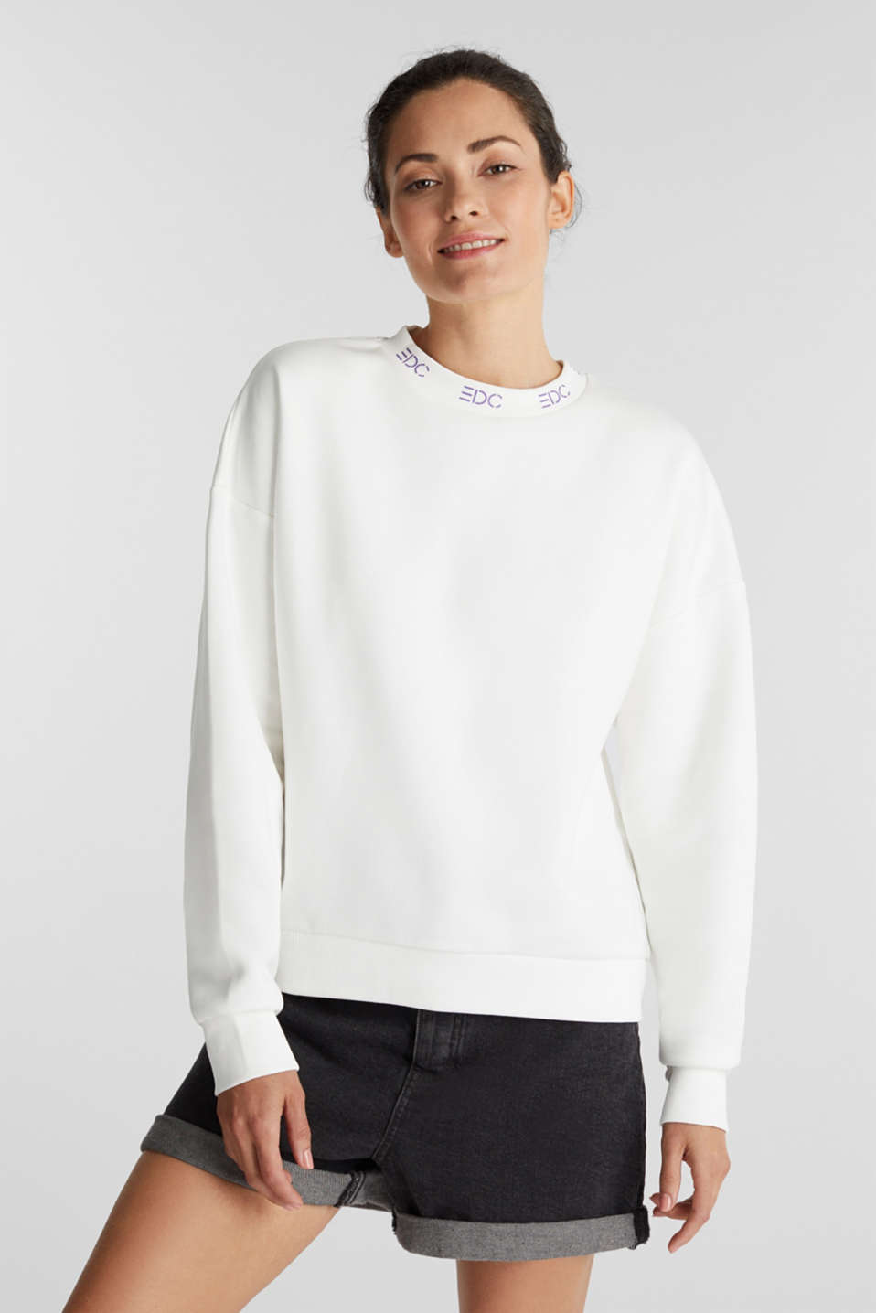 Sweatshirt with a logo on the cuffs, OFF WHITE, detail image number 0