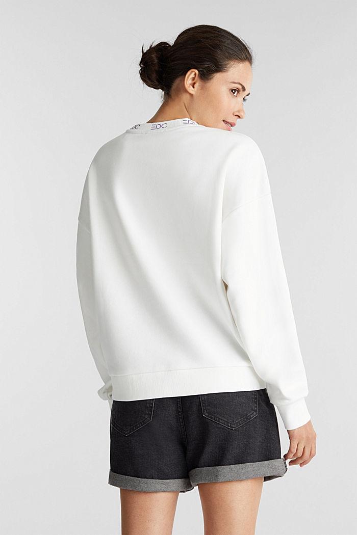 Sweatshirt met boordjes met logo, OFF WHITE, detail image number 3
