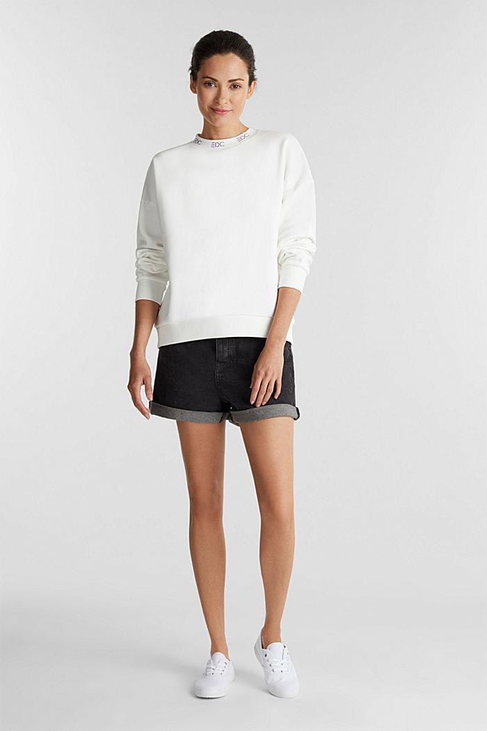 Sweatshirt met boordjes met logo, OFF WHITE, detail image number 1