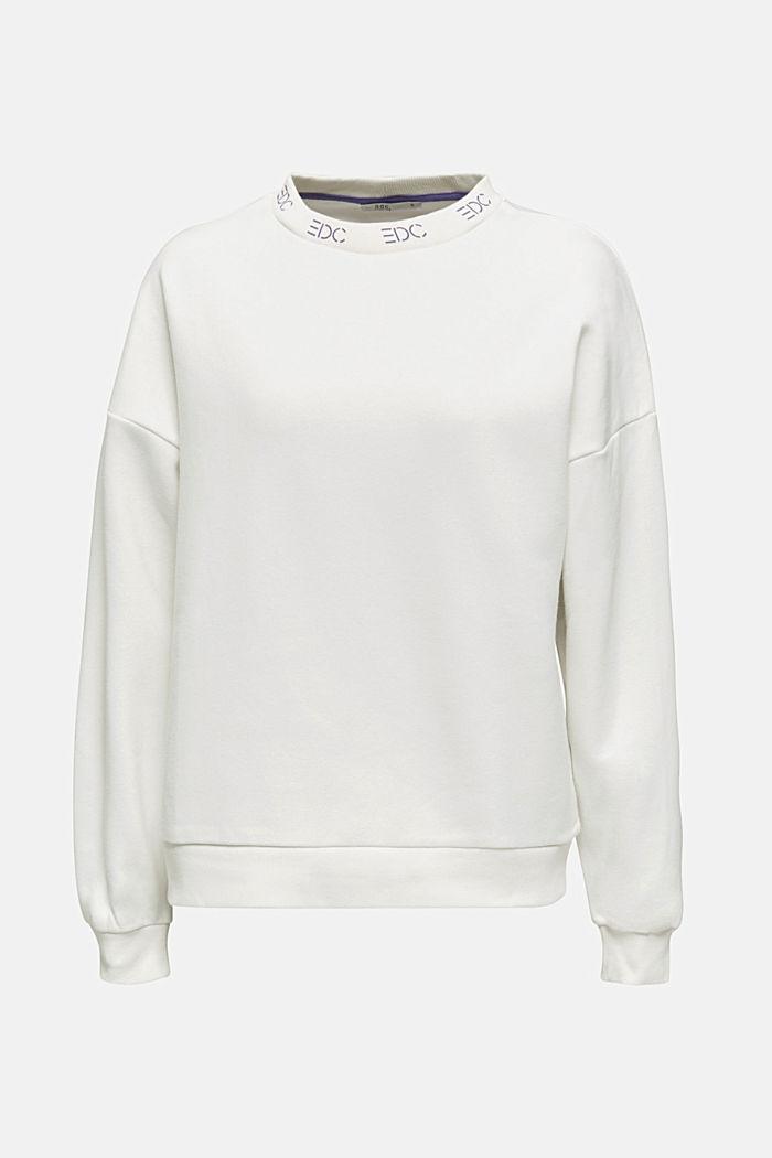 Sweatshirt met boordjes met logo, OFF WHITE, detail image number 6