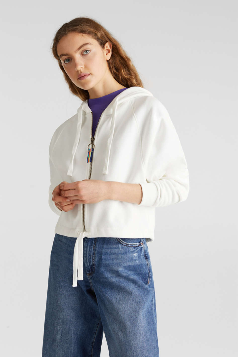 Cropped sweatshirt jacket with a hood, OFF WHITE, detail image number 0