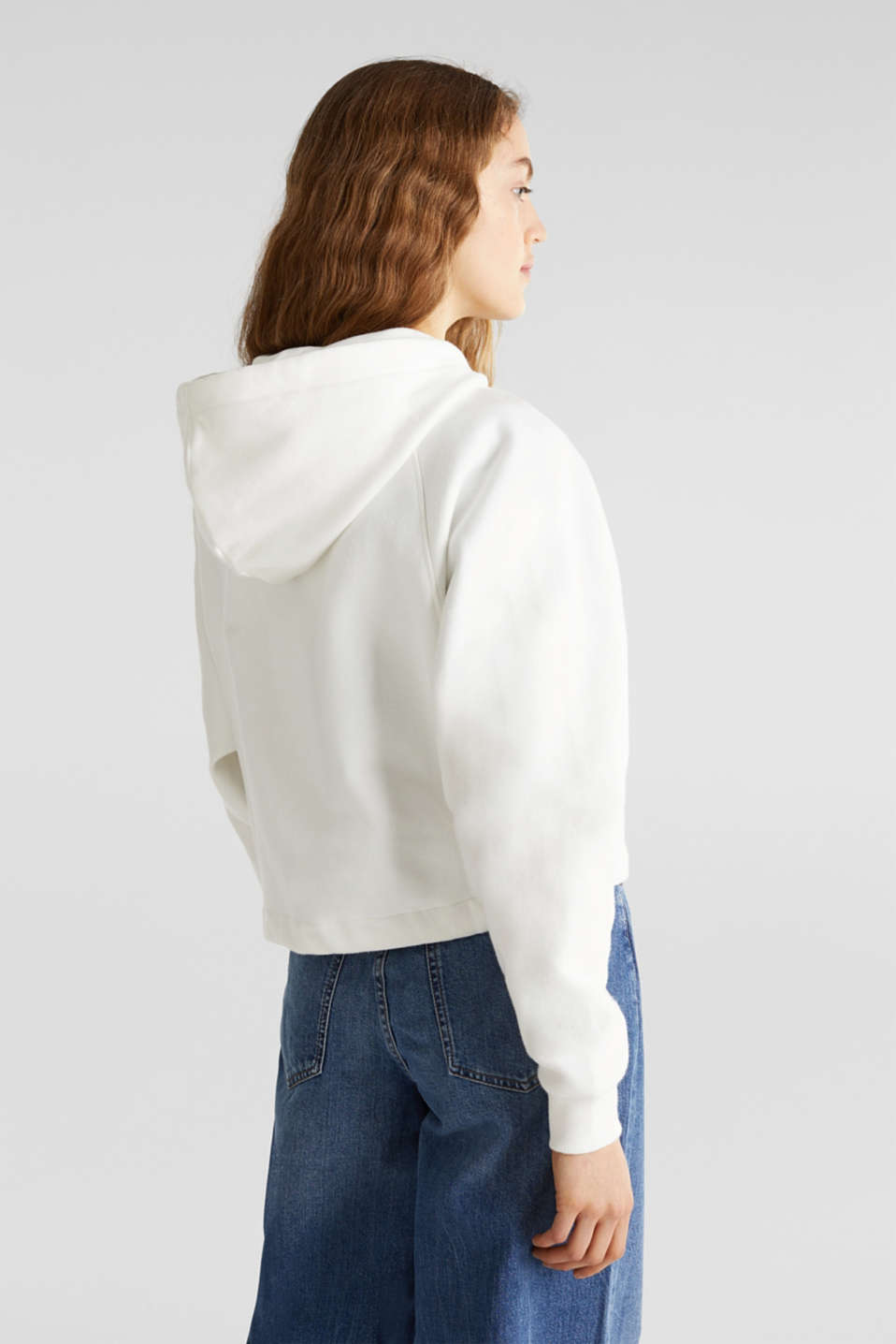 Cropped sweatshirt jacket with a hood, OFF WHITE, detail image number 3