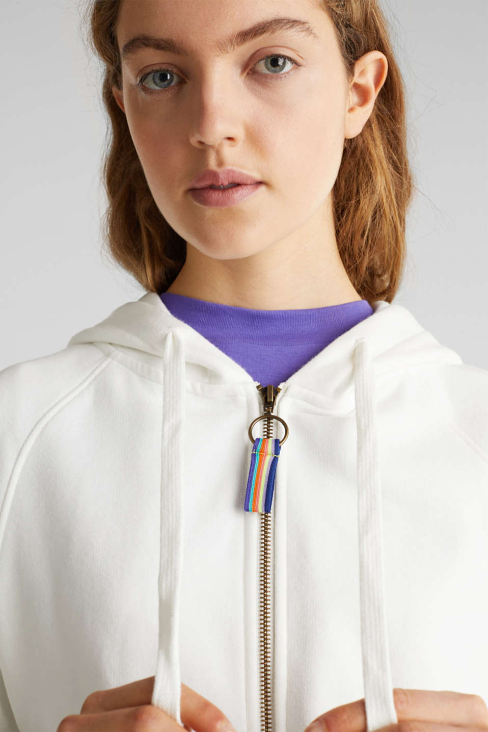 Cropped sweatshirt jacket with a hood, OFF WHITE, detail image number 2