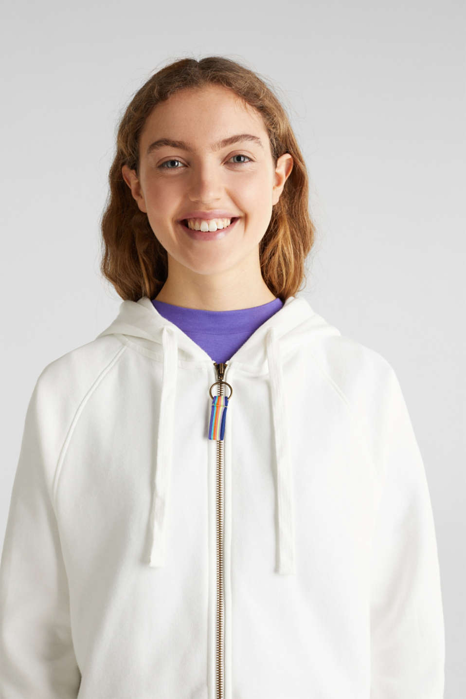 Cropped sweatshirt jacket with a hood, OFF WHITE, detail image number 5