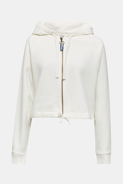Cropped sweatshirt jacket with a hood