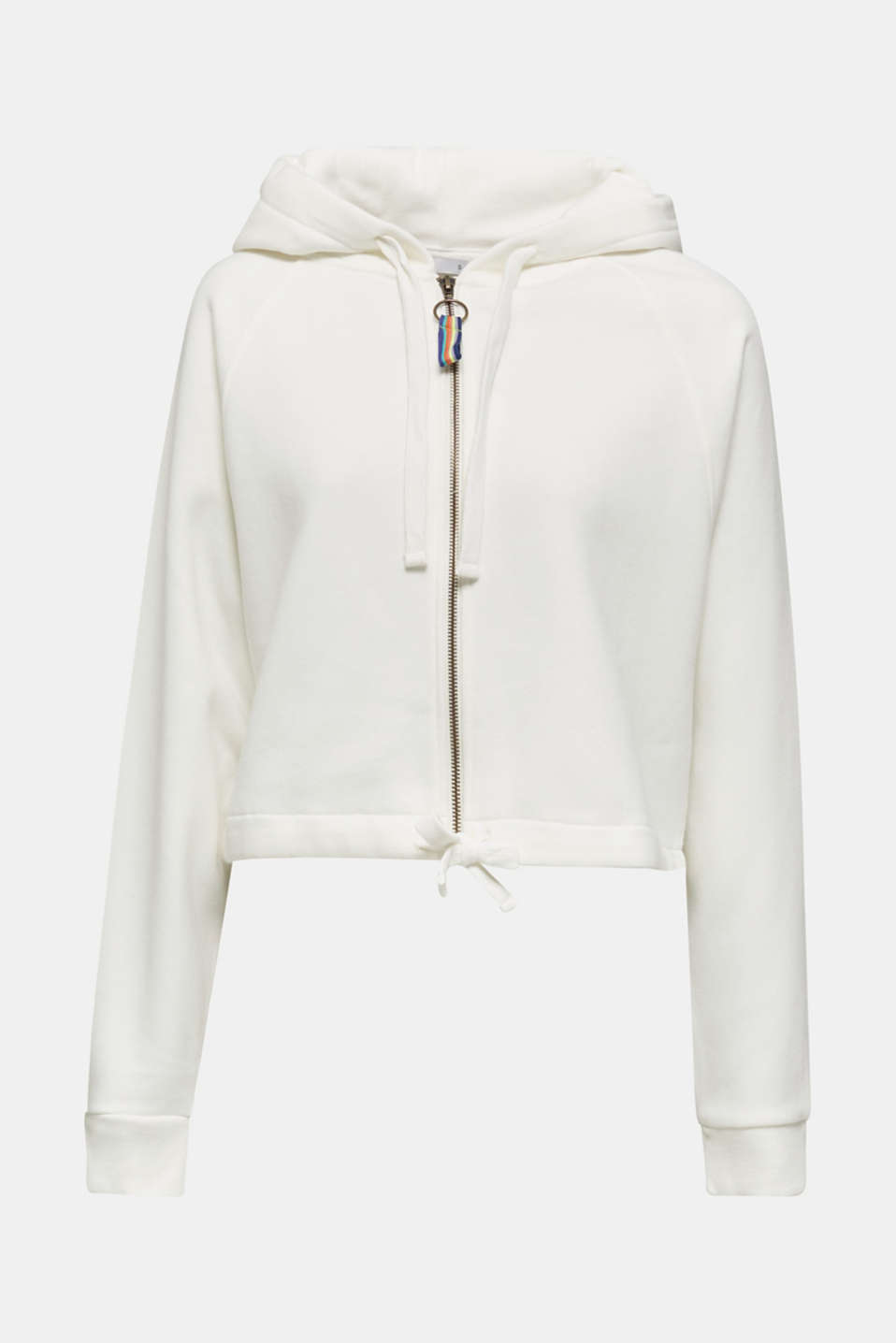 Cropped sweatshirt jacket with a hood, OFF WHITE, detail image number 6