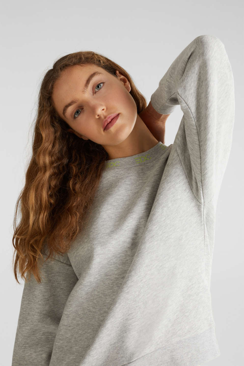 Oversized melange sweatshirt, LIGHT GREY 5, detail image number 0