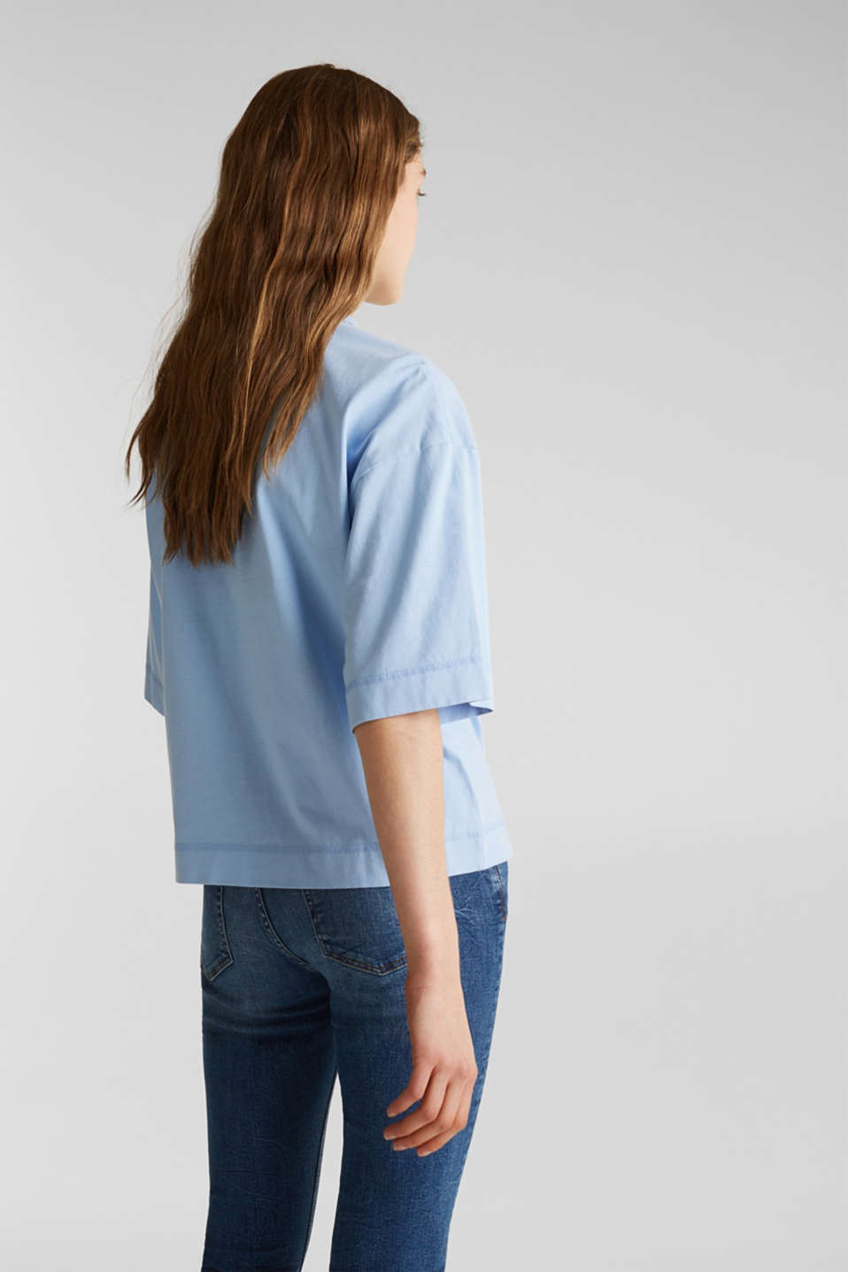 Loose T-shirt in 100% cotton, BLUE LAVENDER 4, detail image number 3