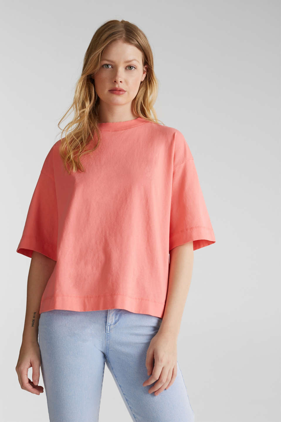 Loose T-shirt in 100% cotton, CORAL 3, detail image number 0