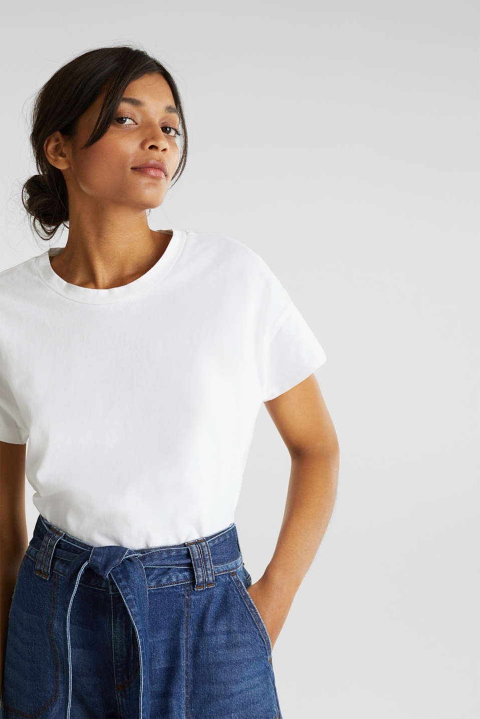 Loose T-shirt in 100% cotton, WHITE, detail image number 0