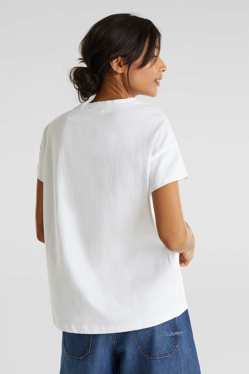 Loose T-shirt in 100% cotton, WHITE, detail image number 3