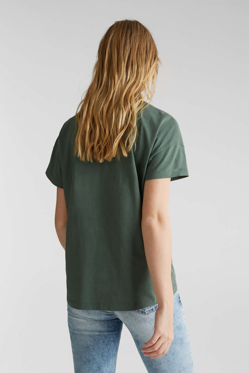 Loose T-shirt in 100% cotton, KHAKI GREEN 4, detail image number 2