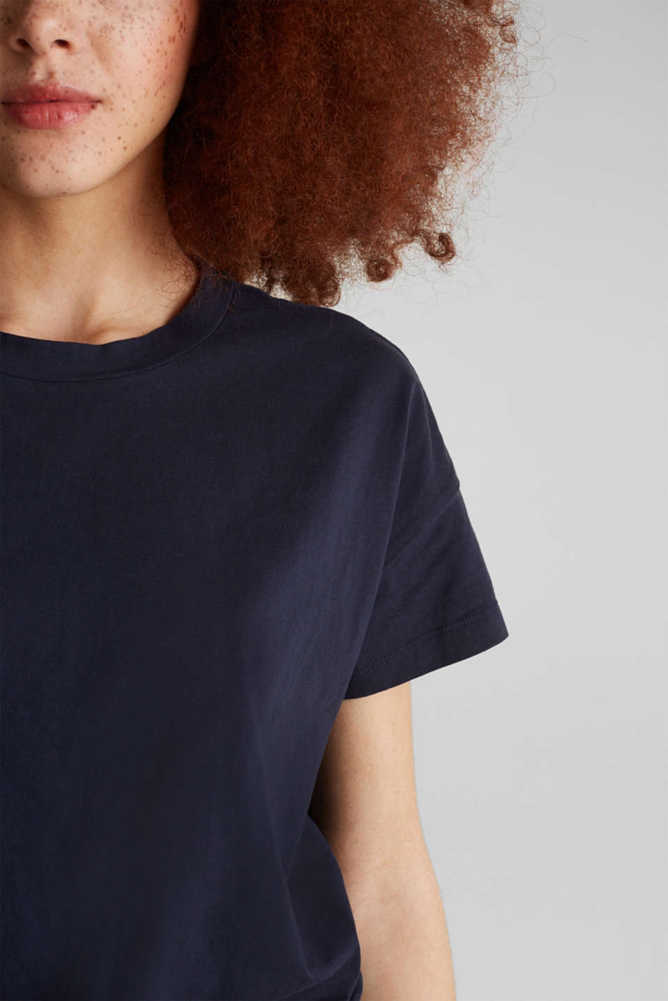 Loose T-shirt in 100% cotton, NAVY, detail image number 2