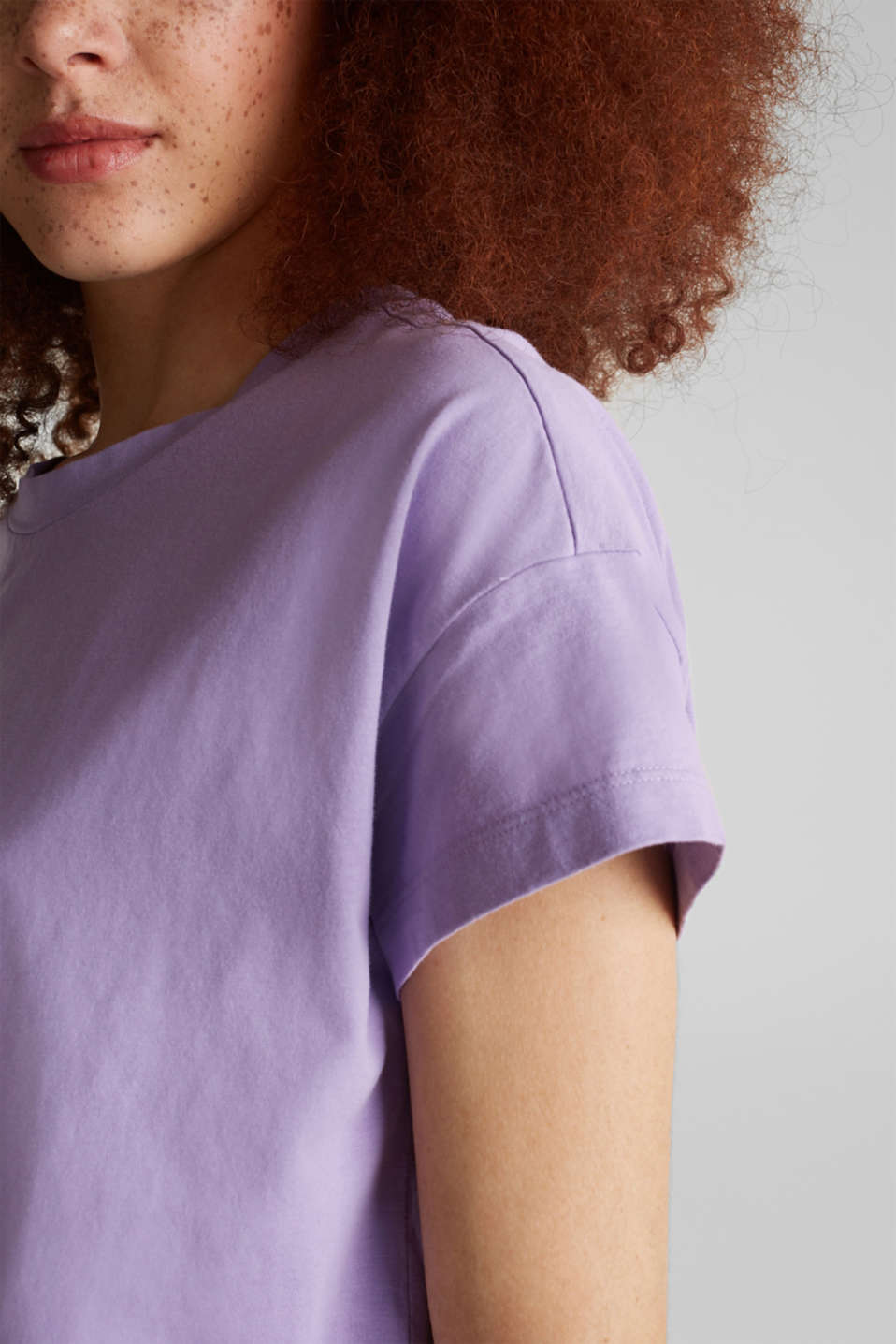 Loose T-shirt in 100% cotton, LILAC 4, detail image number 2
