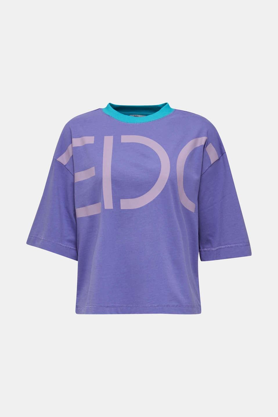 Boxy logo T-shirt made of 100% cotton, DARK LAVENDER, detail image number 5