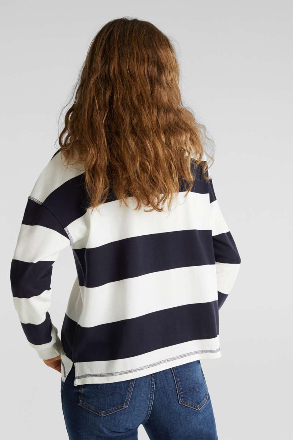 Boxy block stripe piqué polo shirt, NAVY, detail image number 3