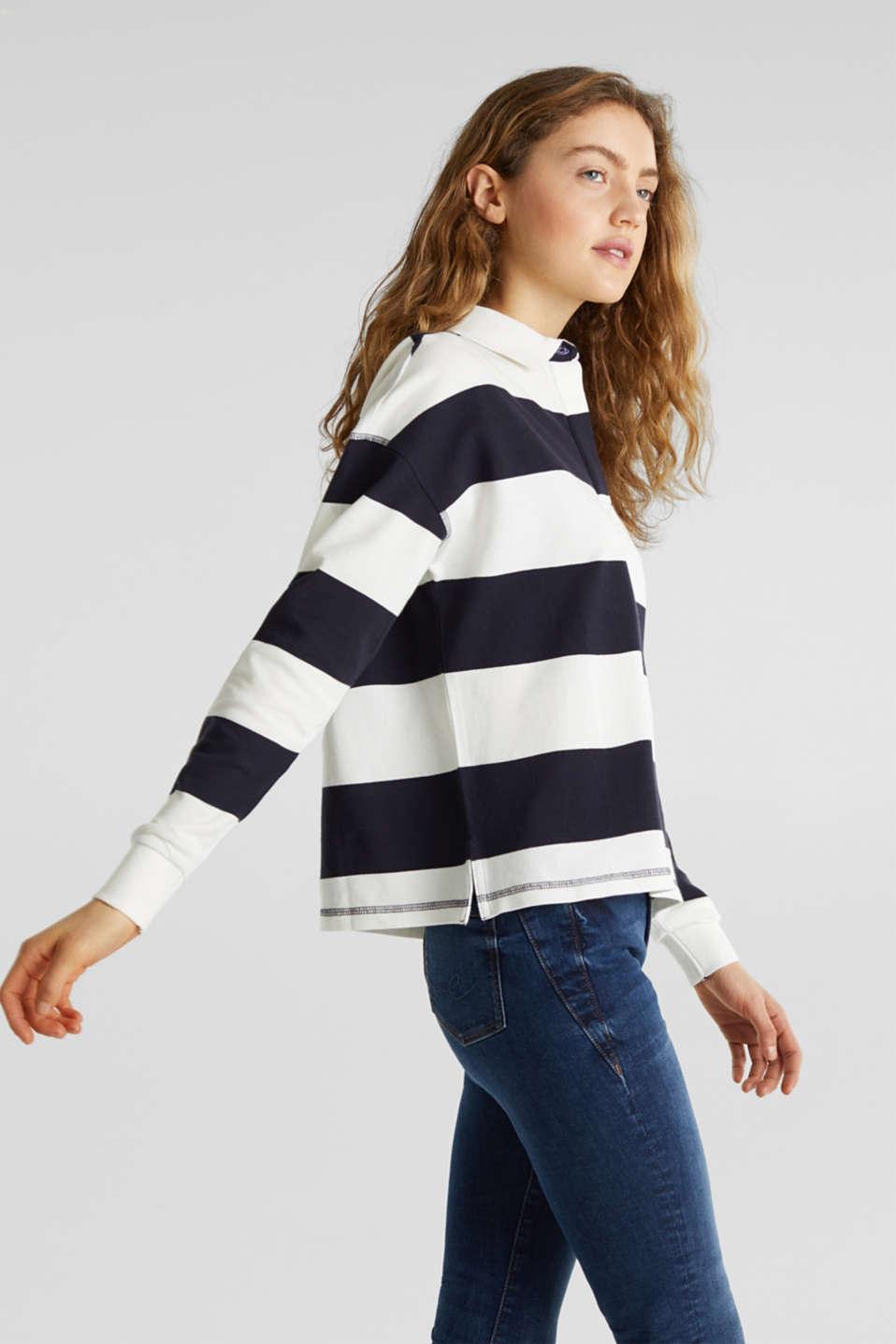 Boxy block stripe piqué polo shirt, NAVY, detail image number 5