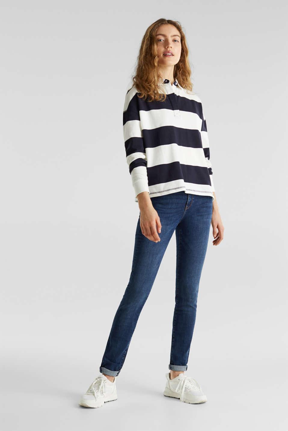 Boxy block stripe piqué polo shirt, NAVY, detail image number 1