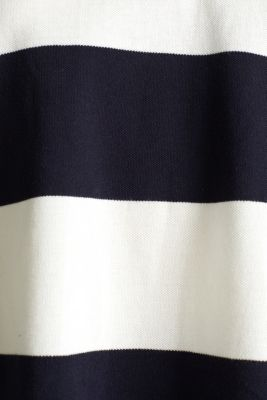 Boxy block stripe piqué polo shirt, NAVY, detail
