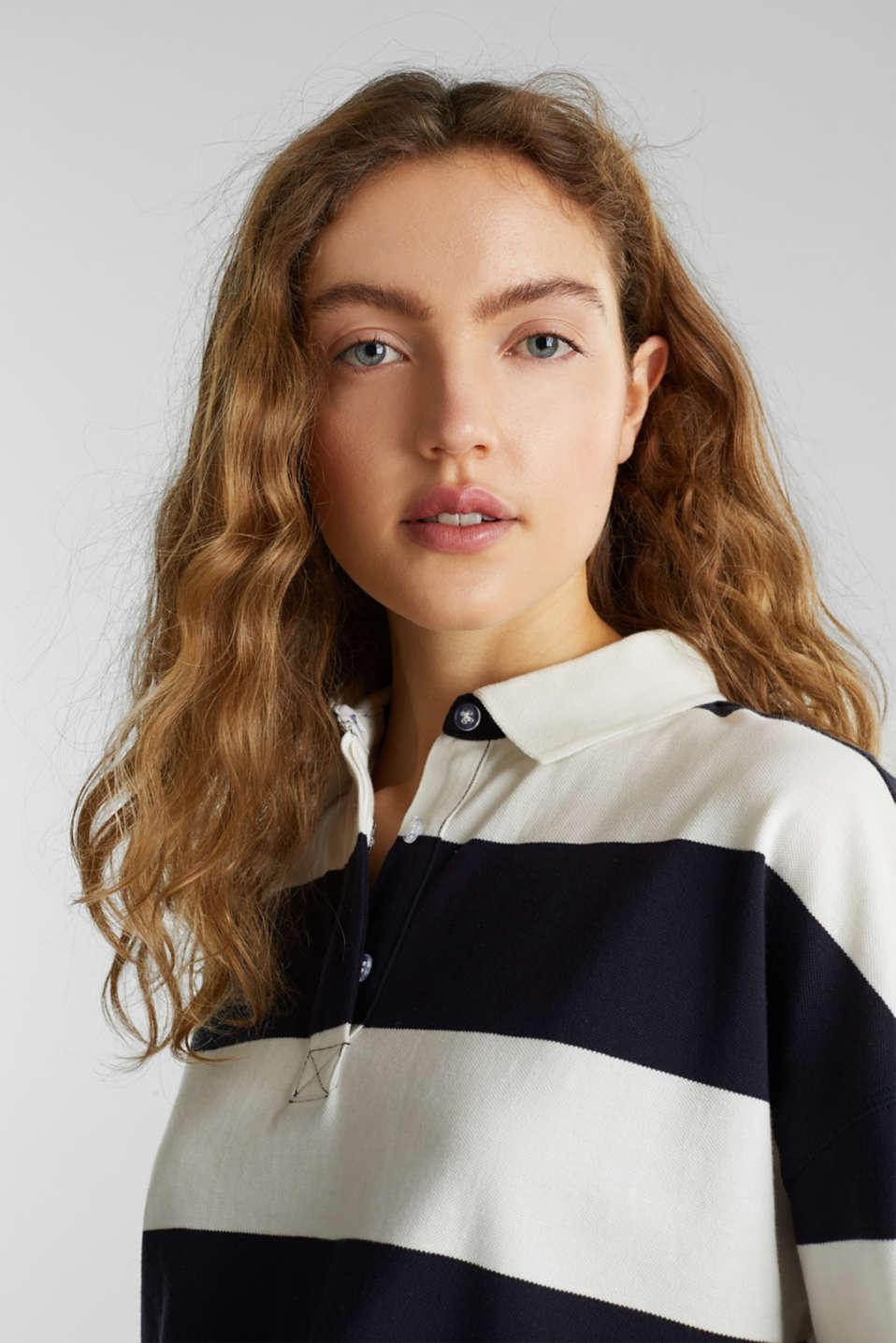 Boxy block stripe piqué polo shirt, NAVY, detail image number 6