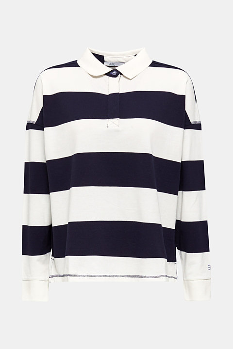 Boxy block stripe piqué polo shirt