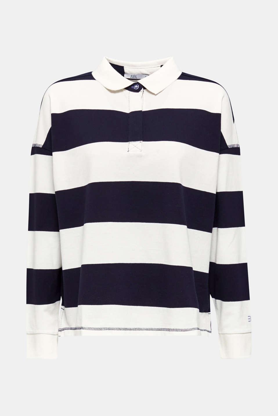 Boxy block stripe piqué polo shirt, NAVY, detail image number 7