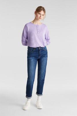 Slub jersey Henley top, 100% cotton, LILAC, detail