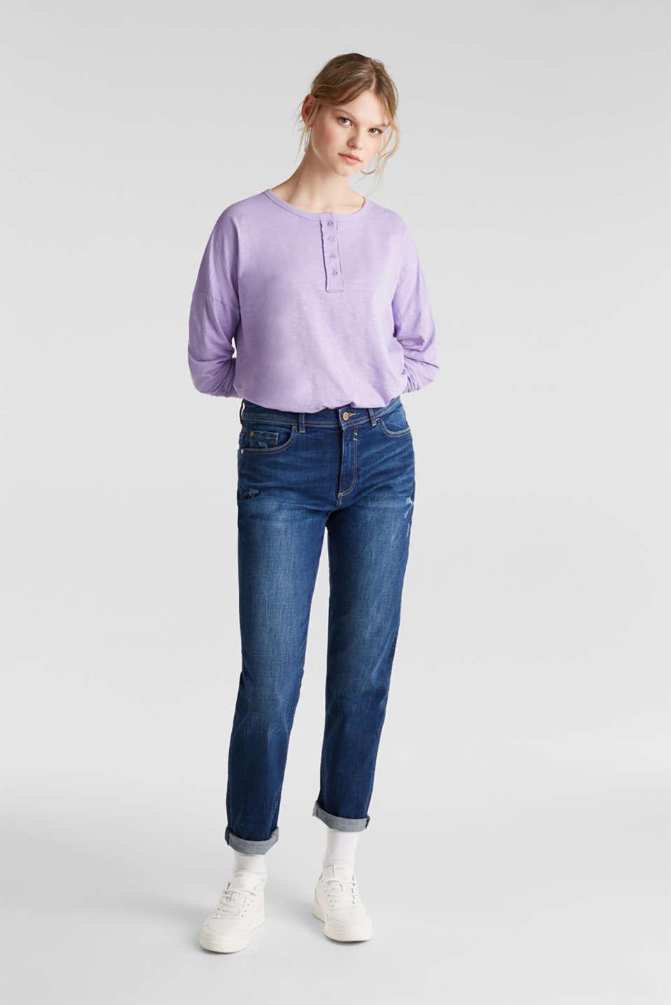 Slub jersey Henley top, 100% cotton, LILAC, detail image number 1