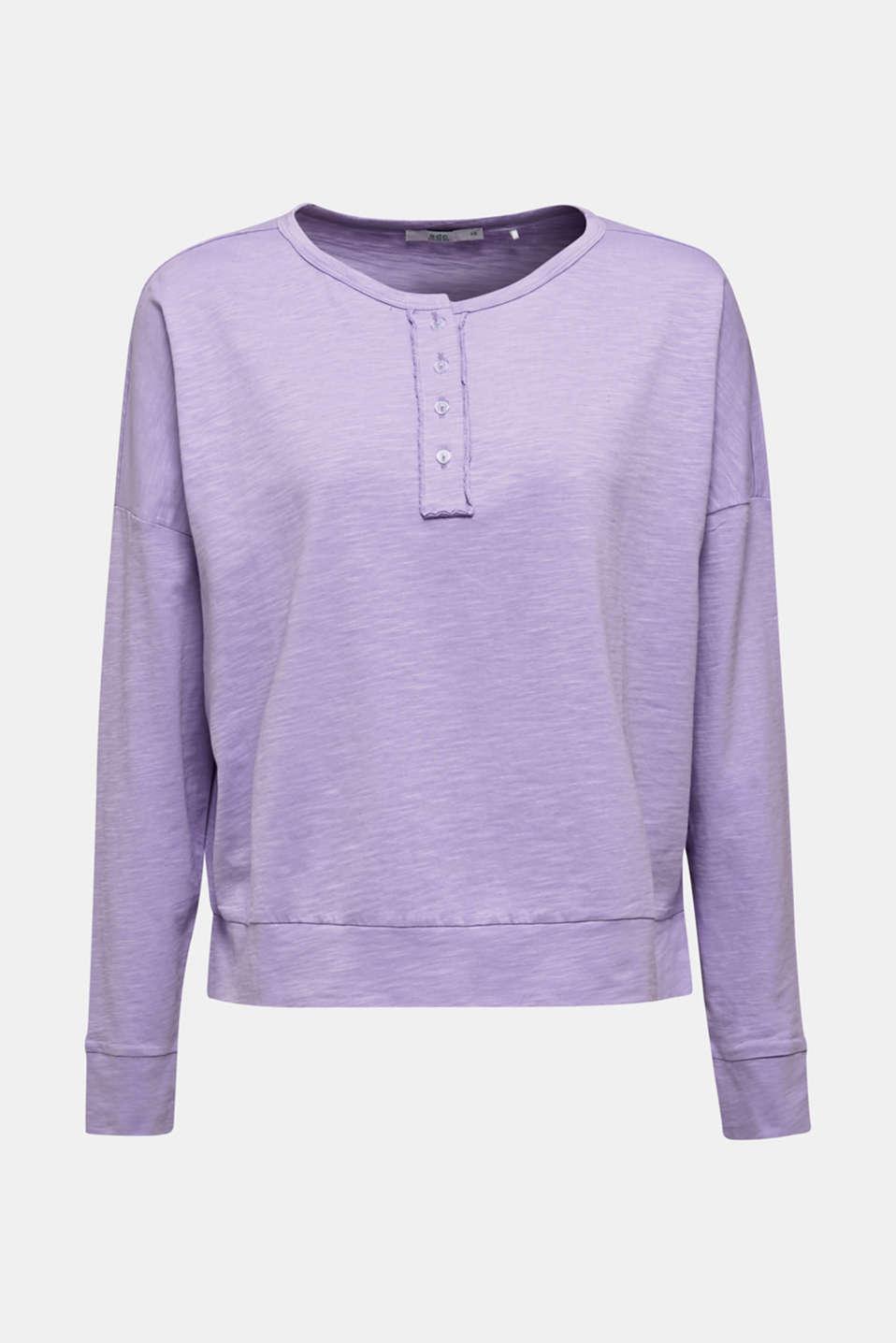Slub jersey Henley top, 100% cotton, LILAC, detail image number 6