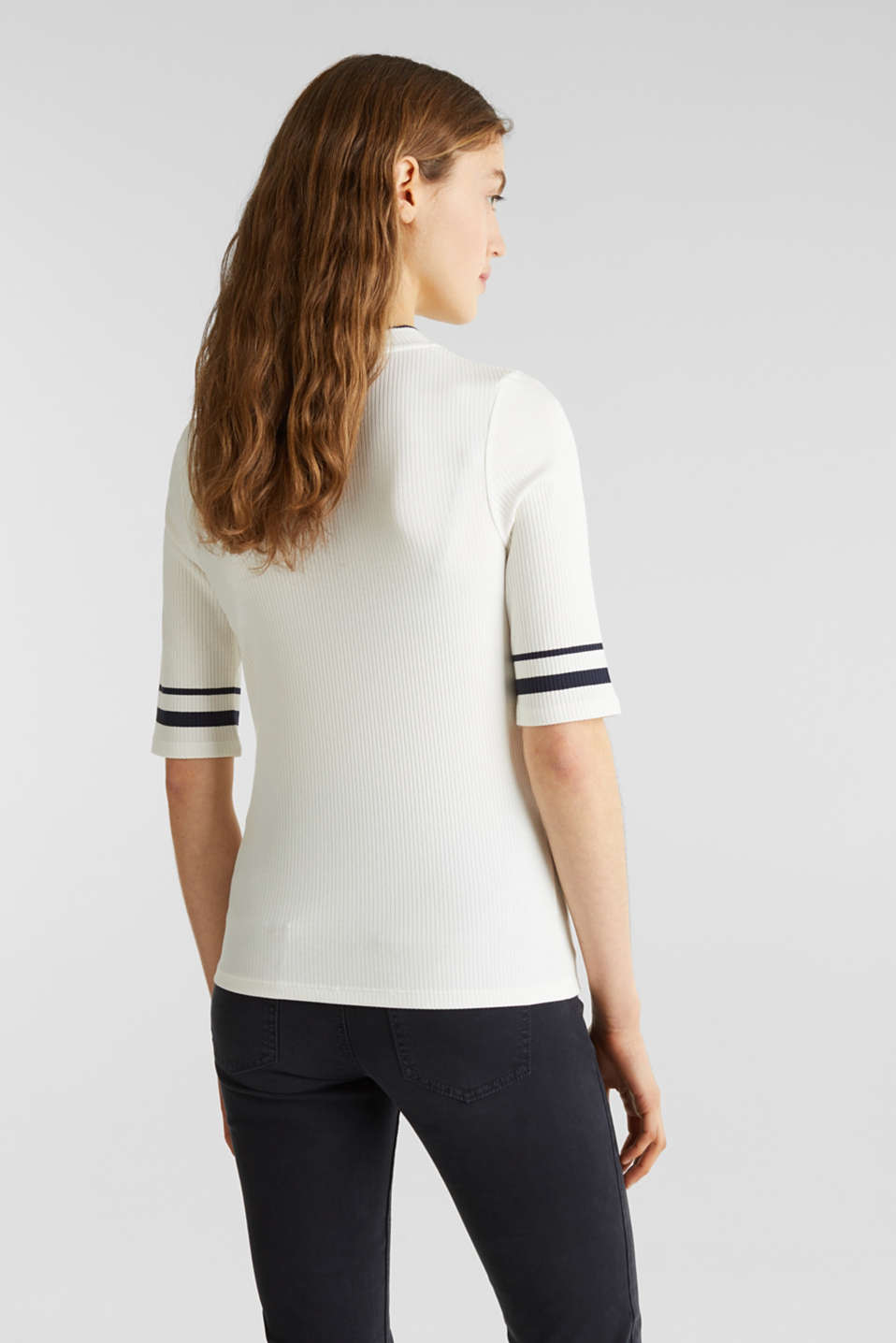 Striped ribbed T-shirt with band collar, OFF WHITE, detail image number 3