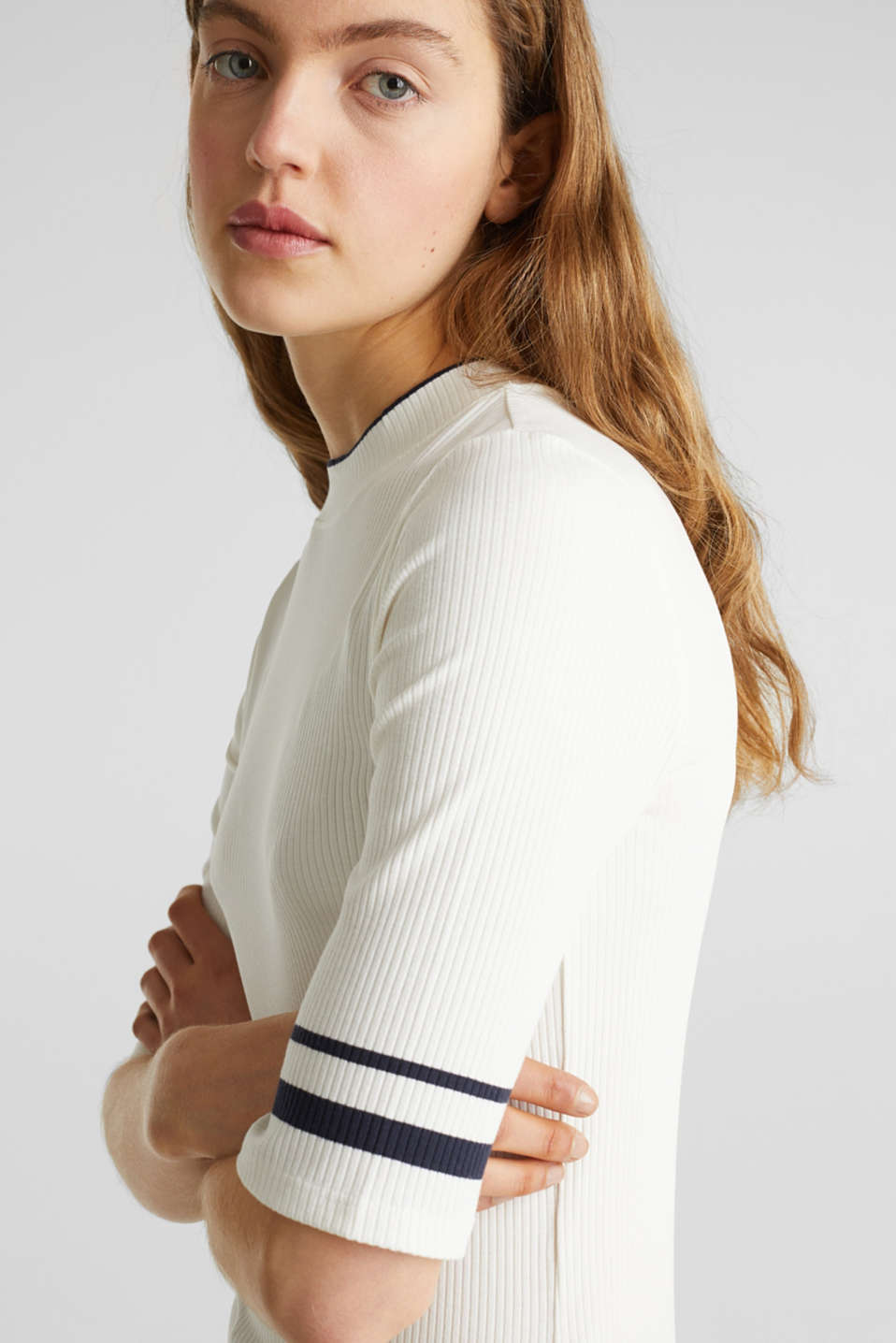 Striped ribbed T-shirt with band collar, OFF WHITE, detail image number 2