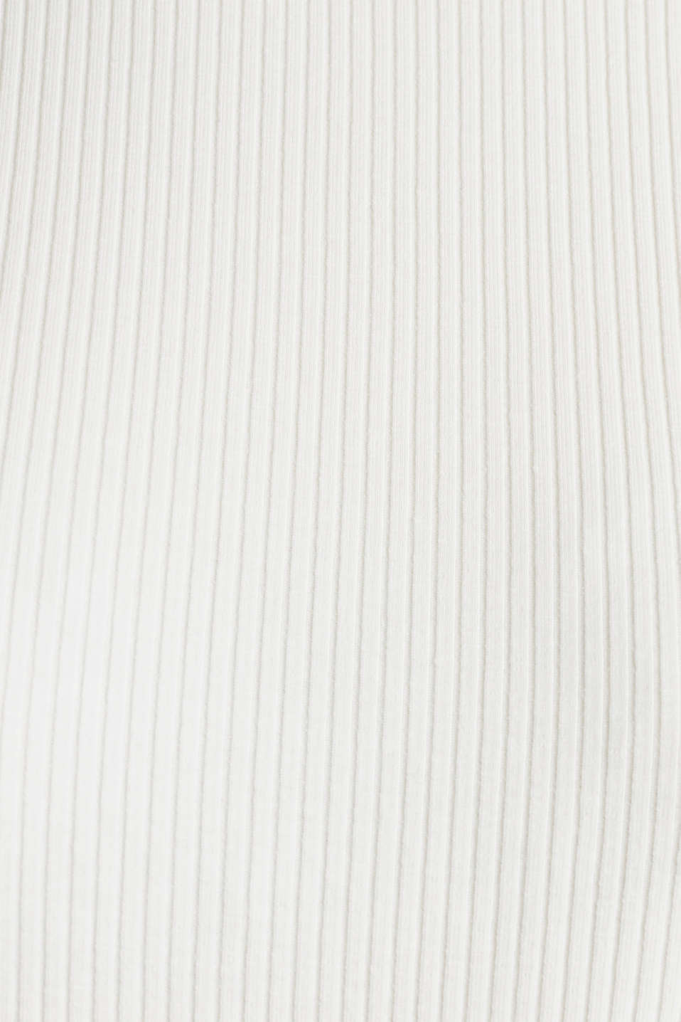 Striped ribbed T-shirt with band collar, OFF WHITE, detail image number 4