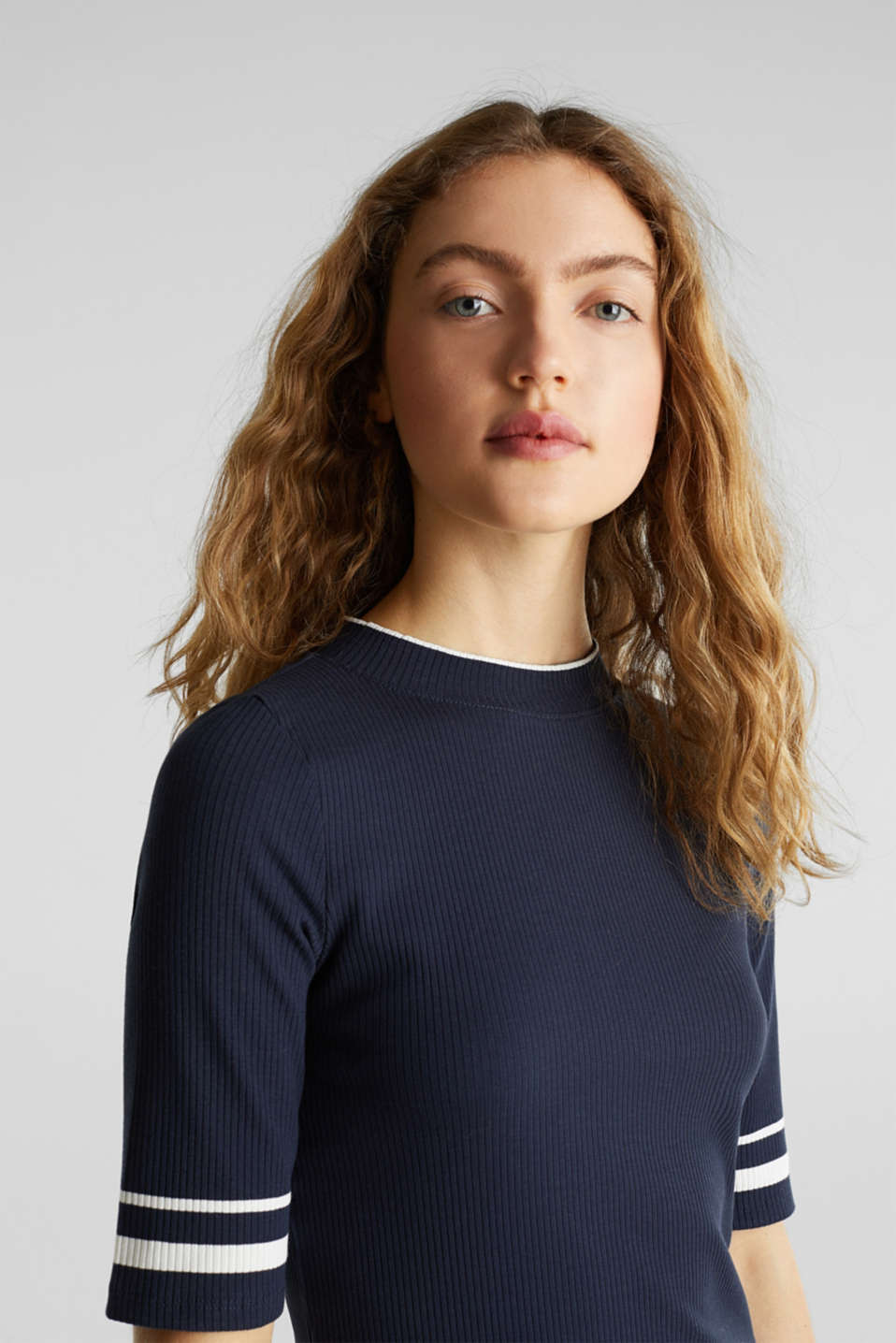 Striped ribbed T-shirt with band collar, NAVY, detail image number 2