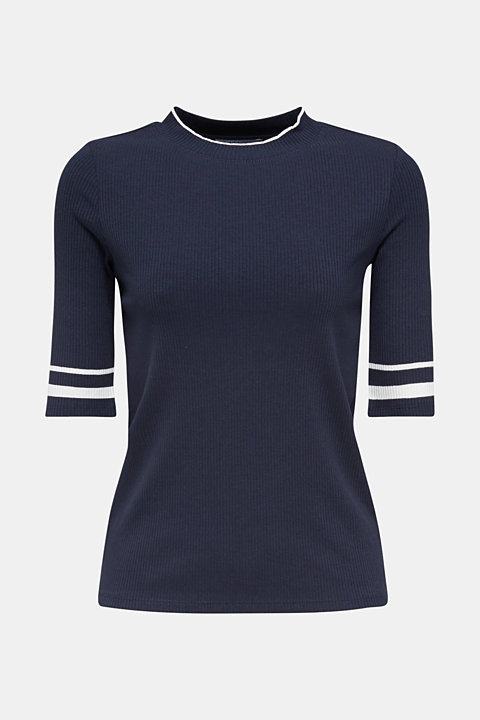 Striped ribbed T-shirt with band collar